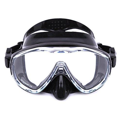 Whale? MK100Diving Mask SCUBA Snorkel maschera adulti con telaio in silicone e strap, Black