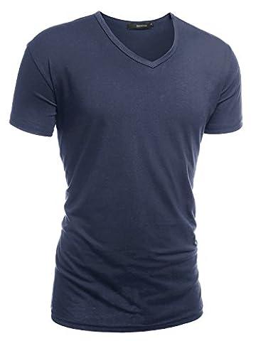 HEMOON Herren Slim Fit Kurzarm T-Shirt Basic V-Ausschnitt Tee Einfarbig