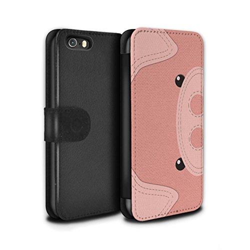 STUFF4 PU-Leder Hülle/Case/Tasche/Cover für Apple iPhone 7 / Frosch Muster / Genähte Tier Effekt Kollektion Schwein