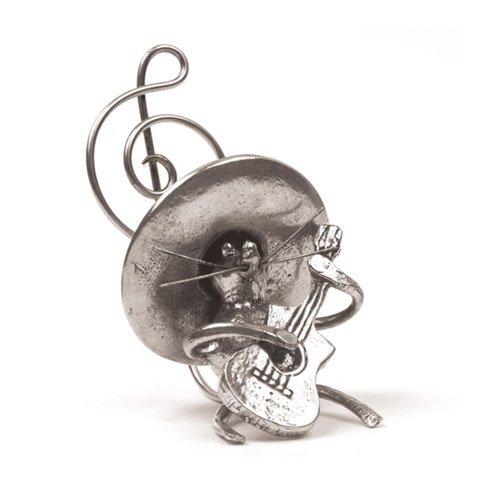 Souris Mexicaine Guitare Miniature - Porte-Photo - Etain 95,5% - Fabriqué en France - Objet déco - Cadeau musique