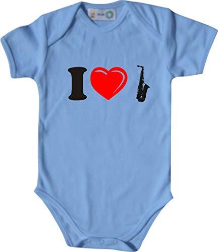 Unbekannt Lustiger Baby Body mit Druck/I Love Saxophone/Farbe: Babyblau/Größe: 62-68 (3-6 Monate)