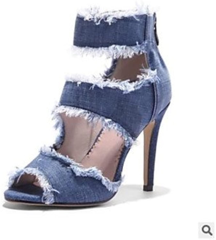 FSCHOOLY Womens Zapatos Denim Comodidad Verano Sandalias Stiletto Talón Peep Toe Toe Para Abrir Casual Azul,Azul... -