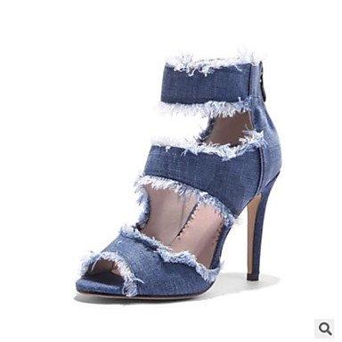 FSCHOOLY Scarpe Donna Denim Comfort Estivo Sandali Stiletto Heel Peep Toe Punta Aperta Per Outdoor Casual Blue Blue