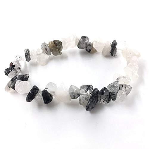 LLXXYY Stein Armband,Natürliche Edelstein Armband Stretch Chip Perlen Nuggets Granat Crystal Coral Quarz Armbänder Armreifen Für Frauen Schwarz Weiß