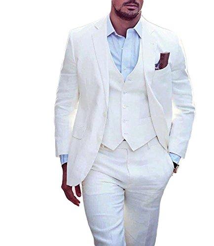 Lilis® Herren Sommer Weiß Hochzeit Anzüge 3 Stück Bräutigam Smoking Herren Anzug (3 Anzug Stück Sommer)