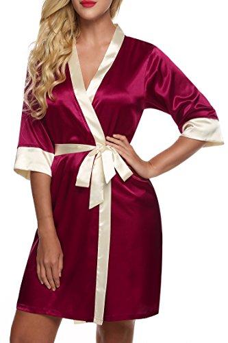Keland Morgenmantel Nachtmantel Kimono Nachtwäsche aus edlem Satin-Stretch mit Spitzenbesatz Rot