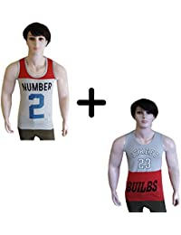 Vp Men's Combo Pack Of 2 Numeric Printed Cotton Vest - B07FL47HMP