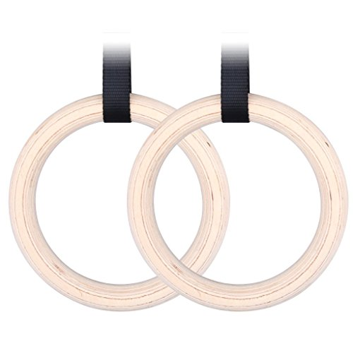 Sumnacon Anneaux Gymnastique, Porté 400 kg pour Chaque sangle avec anneau bois Betula/bouleau, Gym Intérieur (Noir)