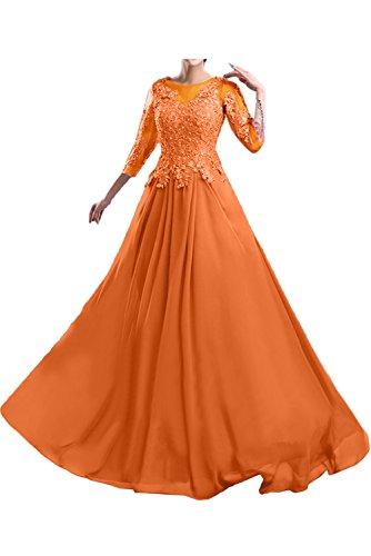 TOSKANA BRAUT Damen Rund Spitze langarm Chiffon Brautmutterkleider Abendkleider Lang Ballkleider Orange