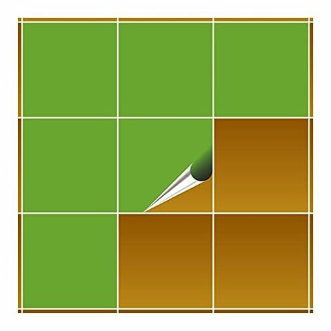 FoLIESEN Carrelage Adhésif pour cuisine et salle de bain–vert citron brillant–20x 20cm–Lot de 10