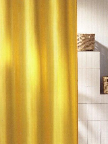 Duschvorhang-ringe Gelb (Duschvorhang Jet Gelb 180cm breit x 200cm lang Textil ohne Ringe)
