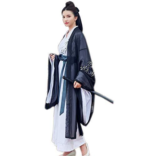 Susichou Kostüm Hanfu Straight Sapphire Stickerei Blume Bambusblatt Big Sleeve Shirt männliche und weibliche Paar - Märchen Kostüm Männlich