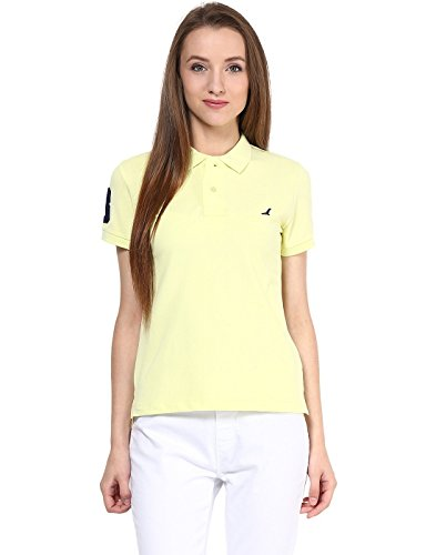 American Crew Women's Polo Collar Solid With Applique T-shirt (yellow)