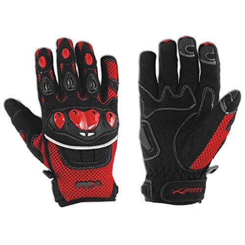 Handschuhe Textil Motorrad Knoechel Schutz Sommer Racing MotoCross Quad MX Rot M
