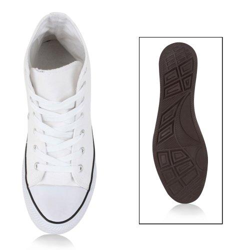 Trendy Damen Sneakers   Sportliche Sneaker High   Stoffschuhe Camouflage   Animal Print Muster Sportschuhe Weiß