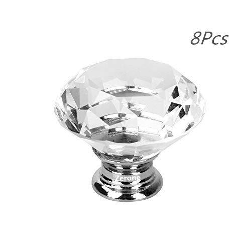 Schrank Knöpfe Kristall, 8 Stück 40 mm Schrankknöpfe Schubladenknöpfe Möbelknöpfe Kristall Möbelgriffe Möbelknauf Schrankgriffe für Küche Büro