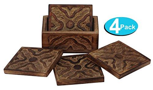 Precio especial - posavasos con soporte 4 Pack - INDIAN montaña rusa de madera de época barra bebida para el vino, cerveza, bebidas, vasos, latas, vasos
