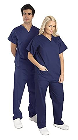 Unisex Budget Medical Scrub Set - Reversible - TOPS AND TROUSERS - 6 Colours Available - Navy, Blue and Raspberry (2XL,