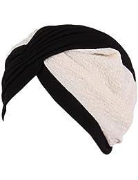 Vovotrade Mujer India Sombrero musulmán Volante fruncido Gorrita Bufanda Turbante Cabeza Envolver Gorra Otoño Invierno ropa Decoración (black)