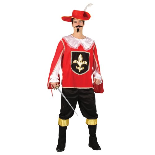 Mens Red Royal Musketeer Guard Halloween Historical Fancy Dress Party ()