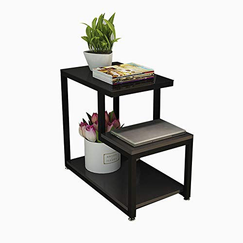 Bseack Tabelle Beistelltisch, Rahmen Gehärtetes Glas Arbeitsplatte Mehrschichtiges Rack Offene Lagerung Einfacher Mini-Ecktisch 3 Größe (größe : 65 * 35 * 55cm) -