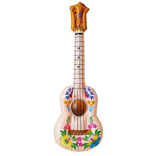 Hawaii Gitarre Ukulele Luftgitarre aufblasbar Hula Blumen Gummigitarre PVC Aloha Strand Aufblasgitarre Mottoparty Musikinstrument Sommer Party Spielzeuggitarre (Aufblasbare Hula)