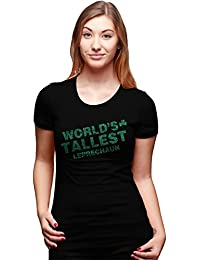 Crazy Dog Tshirts Women's World's Tallest Leprechaun Glitter T Shirt Cute Saint Patricks Day Tee