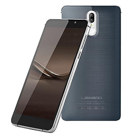 Smartphone LEAGOO M8 Pro 5.7 Pouces 4G (2GB RAM+16GB ROM Android 6.0 Quad Core 1.3GHz, Double SIM, GPS WIFI, MT6737, Capteur de doigt, Caméras 13MP + 5 MP) Gris
