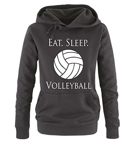 Comedy Shirts - EAT. Sleep. Volleyball - Damen Hoodie - Schwarz/Weiss Gr. L