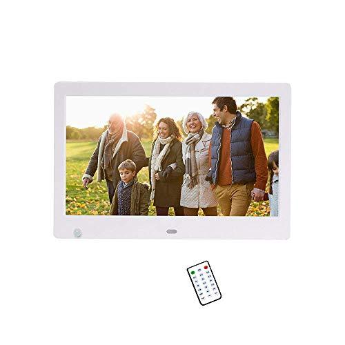 WSFF-Fan Digitaler 10-Zoll-Fotorahmen, HD-LED-Digitalbildschirm mit Erfassung des menschlichen Körpers Horizontale und vertikale Erkennungsfunktion mit Fernbedienung,White