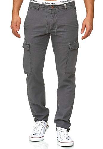 Indicode Herren Leonardo Cargohose aus 55% Leinen & 45% Baumwolle m. 6 Taschen | Lange Regular Fit Cargo Hose Baumwollhose Leinenhose Freizeithose Bequeme Stoffhose f. Männer in Iron L