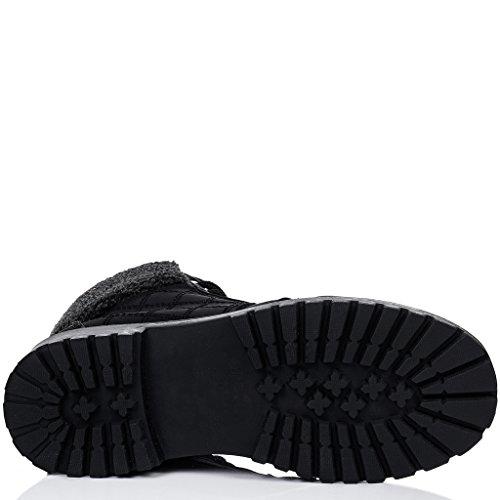SPYLOVEBUY RILEY Femmes Lacet Plates Bottines Chaussures Noir - Similicuir