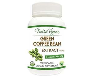 NutraVigour Green Coffee Bean Extract 60% (chlorogenic acid) GCA VEG weight loss 90 Capsules 800mg