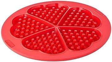 قالب خبز الوافل من تيفال بروفليكس مصنوع من السيليكون، 5 اقسام على شكل قلب - احمر، J4095154