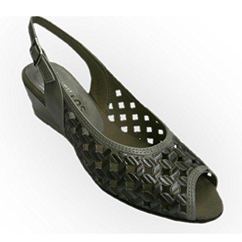 Sandali con zeppa intrecciato pelle verniciata alta assieme Pitillos metallico taille 41
