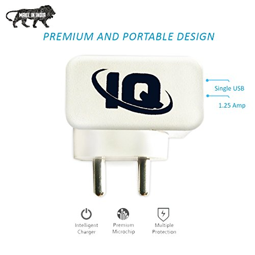 IQ Single Port USB Charger with 1.25 Amp Power Supply for All Android and iOS Devices it Comes in White Color Along with 1 USB Cable - Support for vivo X21