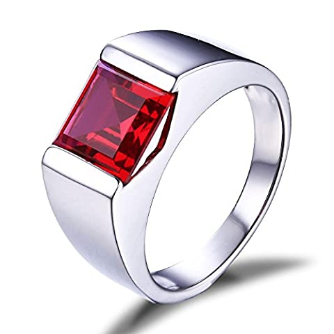 Jewelrypalace Men's 3.4ct Red Created Ruby Ring Solid 925 Sterling Silver Size T
