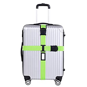 Hunpta Sangle à bagages Valise Baggage Sac d'emballage Secure Cross Ceinture Fermoir en métal