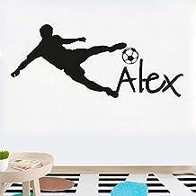 Nombre Personalizado Fútbol Balón de Fútbol Vinilo Tatuajes de Pared Arte  de Los Niños Etiqueta de caf1b311fc75f