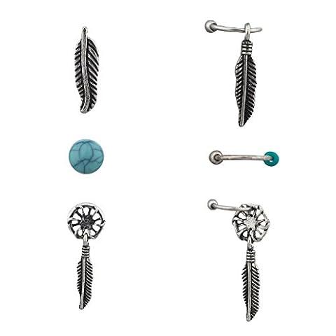 Lux Accessoires Boho Burnish Ensemble Boucles d'oreille argent Turq Attrape-rêves Multicolore (Lot de 3)