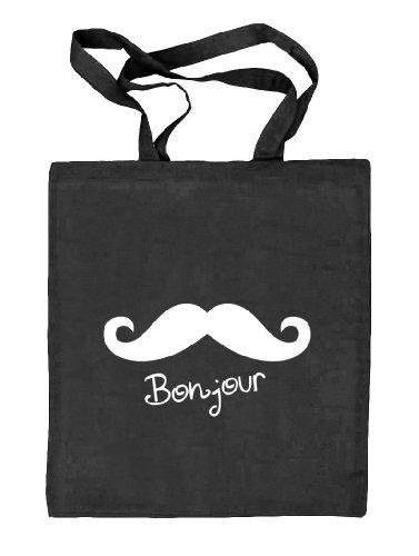 Shirtstreet24, BONJOUR MOUSTACHE, Mustache Schnurrbart Stoffbeutel Jute Tasche (ONE SIZE) schwarz natur