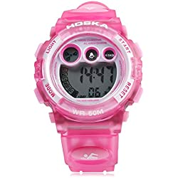 Leopard Shop HOSKA H002S Kid Sports Digital Watch with Day Chronograph LED Light Wristwatch Water Resistance Pink