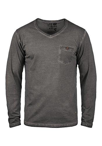 SOLID Terkel Herren Longsleeve V-Ausschnitt Langarmshirt aus 100% Baumwolle Dark Grey (2890)