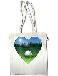 Golf - Golf Herz - Unisize - Natural - XT600 - Fairtrade Henkeltasche / Jutebeutel mit langen Henkeln
