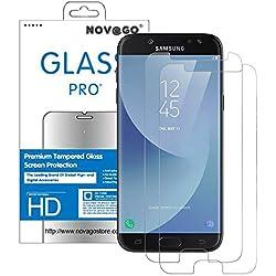 Novago Compatible avec Samsung Galaxy J3 2017 J3 Pro J330 -Lot de 2 Films Protection écran en Verre trempé résistant Ne Couvre Pas Tout écran (Transparent)