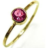 Goldring 14 Kt mit rosa Turmalin - zarter Verlobungsring - handgefertigt by SILVERLOUNGE