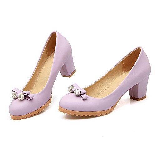 VogueZone009 Femme Matière Souple Tire Rond à Talon Correct Mosaïque Chaussures Légeres Violet