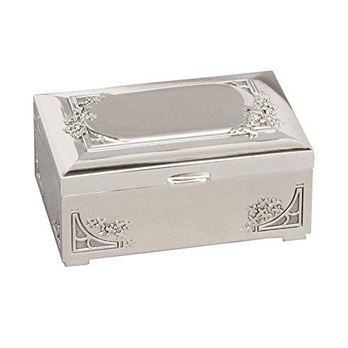 Art Nouveau Style argento placcato rettangolare Trinket \ portagioie in