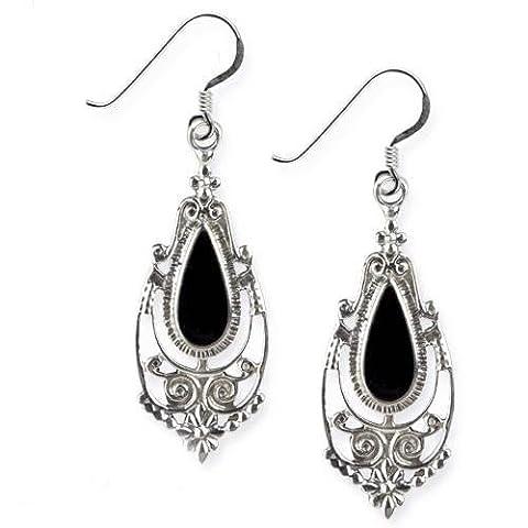 Ohrringe Victorian Gothic 925er Sterling Silber mit schwarzem Onyx Länge