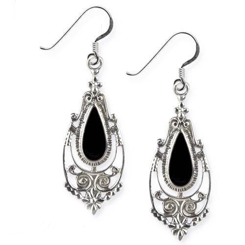 Ohrringe Victorian Gothic 925er Sterling Silber mit schwarzem Onyx Länge 3,5cm (Gothic Sterling Silber)